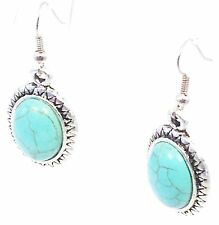 New Blue Oval Turquoise French Wire Earrings Tibetan Silver Dangle Free Shipping