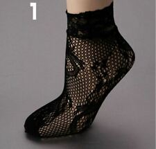 Black ANKLE Socks Mesh Lace Sexy Anklet Short Elastic Women Ladies Ultra thin