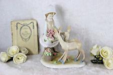 Vintage porcelain girl deer flower basket statue figurine group marked lladro