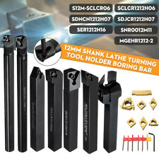 7pcs 12mm Shank Lathe Boring Bar Turning Tool Holder Set With 7 Carbide Inserts Us