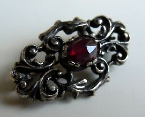 FABERGE Antique Imperial RUSSIAN Brooch with Garnet Stone, 84 silver