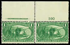 Scott 285 1898 1c Trans-Mississippi Mint Imprint Plate# Pair Fine OG NH Cat $160