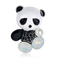 Fashion Wedding Bridal Crystal Enamel Animal Panda Corsage Banquet Brooch Pin 3C
