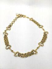 Vintage Gold Metal Horse Bit Chain Belt Adjustable 1970s