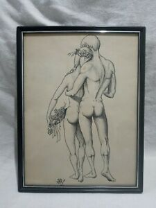 Signed Vtg. 1963 Nude Male/Female Couple Lover Pencil/Pen/Chalk Sketching Art