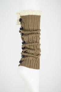 Leto Button Down Lace Trim LEGWARMERS Socks Bootcuffs Boho Chic Asst Colors OS