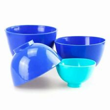 4PCS Dental Lab Rubber Mixing Bowls Flexible Silicone Bowls Color Blue US STOCK