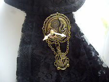 Steampunk Gear Cogs Clock Han Cameo Frame With Shield Brooch Jabot Tie Pin Badge