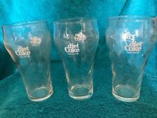 "Lot of 3 Vintage Diet Coke 6"" Glasses Swirl Pattern Bell Shaped Retro FREE SHIP."