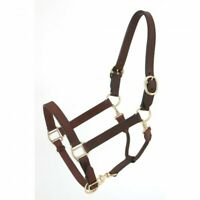 Tough 1 Horse Size Brown Leather Stable/Grooming Halter horse tack equine 44-900