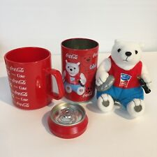 Olympic 2004 Athens Coca Cola Plush Polar Bear in Coke Can Discus Bonus Cup
