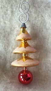 Vintage Christmas Tree Drop On Ball Glass Ornament Gold Red White Glitter
