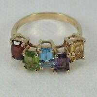 ESTATE 10k Yellow Gold Gemstones Ring Size 8.25