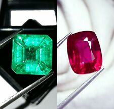 Loose Gemstone Natural 8 to 10 cts Certified Emerald & Ruby Mixed Shape Pair