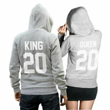 King & Queen set 2 hoodies suéter suéter amor Love pareja apoyarme gris cvlr ®