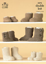 Double Knitting Pattern King Cole Kids Adults DK Knitted Hug Boot Slippers 3275