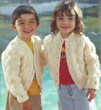 515443156d8c86 CHILDRENS BOY GIRL ARAN ROUND   V NECK CARDIGAN KNITTING PATTERN 20 28 (1190