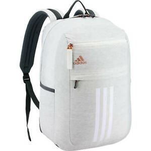Adidas League 3 Stripe Laptop Backpack Bag White Gray Rose Gold School NEW