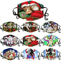 Adult Christmas Cartoon Cats Print Adjustable Washable Cover Mouth Face Masks UK