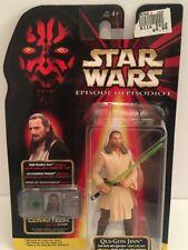 "Vintage 1998 Hasbro Star Wars GUI-GON JINNE Episode I 4"" Action Figure w/ Chip"