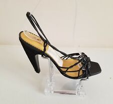 Report Signature Cowhide Heels Black/ Gold Sandals Strappy Size 7