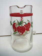 Small Vintage Glass Pitcher With Strawberries
