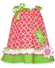 "NEW Bonnie Jean Baby Girls ""PINK & LIME FROG"" 2pc Size 24M Poplin Dress NWT"