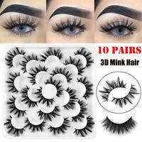 SKONHED 10 Pairs 3D Mink Makeup Thick Fluffy False Eyelashes Lashes Handmade-