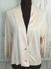 Chico's 2-Button Cardigan Sweater Jacket Size 1 Lt Pink 3/4 Sleeve Silk Angora