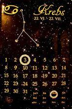 Sternzeichen Krebs Kalender mit Swarovski Steinen Blechschild 20 x 30 cm