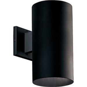 "Progress Lighting Cylinder Collection 6"" Black Modern Outdoor Wall Lantern Light"