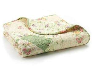 BLISS IVORY PINK ROSES 50x60 QUILT THROW : VINTAGE COTTAGE SHABBY BLANKET