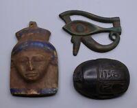 EGYPTIAN ANTIQUITIES EGYPT EYE OF HORUS PHARAOH FACE SCARAB STATUE STONE BC