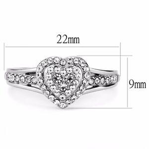 Clear CZ Set Heart in Heart Shape 316 Stainless Steel Womens Sweetheart Ring