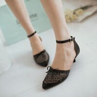 Womens Lace Knot Buckle Pointed Toe Sandals Kitten Heels Mesh Plus Size Shoes