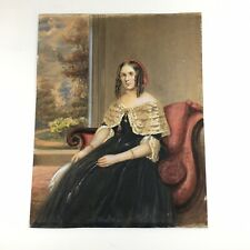 More details for antique 19th century watercolour of a seated young lady 35.5cm x 28cm
