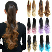 24'' Synthetic Ponytail Hair Extensions Claw Clips In Drawstring Wave Hairpieces