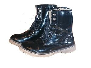 LADIES Black Patent Boots Size 5