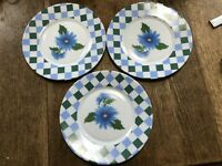 Arcopal France Flower Salad Plates lot of 3 blue green check Floral