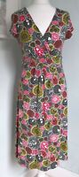 BODEN Green Red Floral Jersey Dress UK 12 Long Faux Wrap Stretch Casual Day