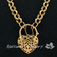 9K GOLD GF Daisy HEART Padlock CHAIN Long NECKLACE with Swarovski CRYSTAL S31
