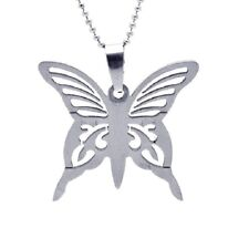 Stainless Steel Open Butterfly Pendant / Charm, Free Bead Ball Chain
