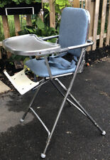 VINTAGE MID-CENTURY PETERSON CHROME HIGHCHAIR BABY SEAT PROP EXCELLENT CONDITION