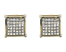 10K Yellow Gold 5MM Dome-Shaped Square Genuine Diamond Stud Earring 0.30ct.