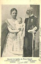 FAMILLE ROYALE BELGE CARTE POSTALE SOUVENIR BAPTEME PRINCE LEOPOLD 1902