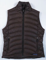 Patagonia Goose Down Quilted Brown Full Zip Womens Puffer Vest Coat Jacket S