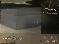 """Twin Ampersand Charcoal Grey Bed Skirt 15"""" Pintuck pleats all cotton dust ruffle"""