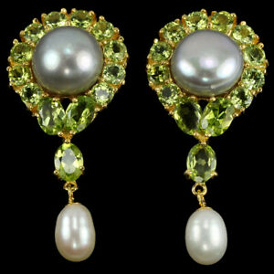 NATURAL MULTI COLOR PEARL CABOCHON & GREEN PERIDOT STERLING 925 SILVER EARRING