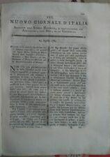 1789 RIVISTA NUOVO GIORNALE D'ITALIA: ZUCCHERO E FRUMENTO AMERICANO (MAIS)