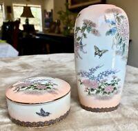 Shibata Japan Light Pink/Peach Gold Trim Floral Trinket Dish and Small Vase